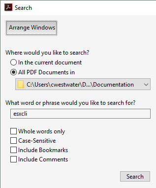 Adobe Reader Advanced Search