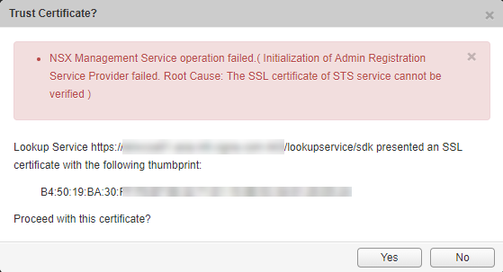 NSX Manager Error