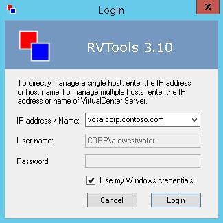 RVTools Login