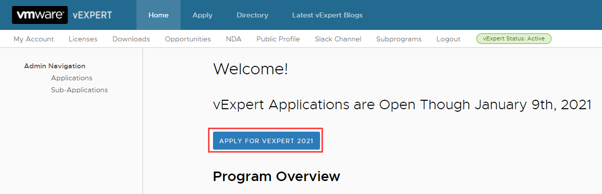 vExpert Application