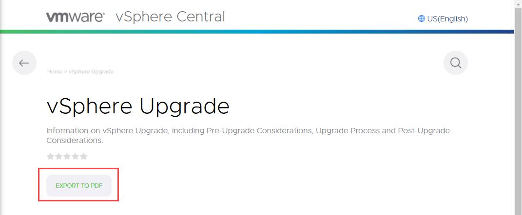vSphere Upgrade Export